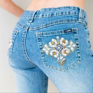 Vintage 90s 00s Y2K Low Flare Rhinestones Jeans
